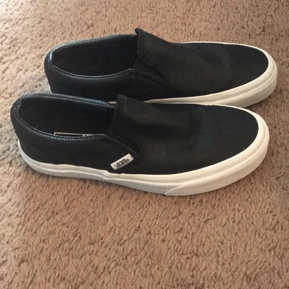 Vans Shoes | Vans Black Leather Slip